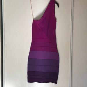 Fitted bandage dress, one shoulder